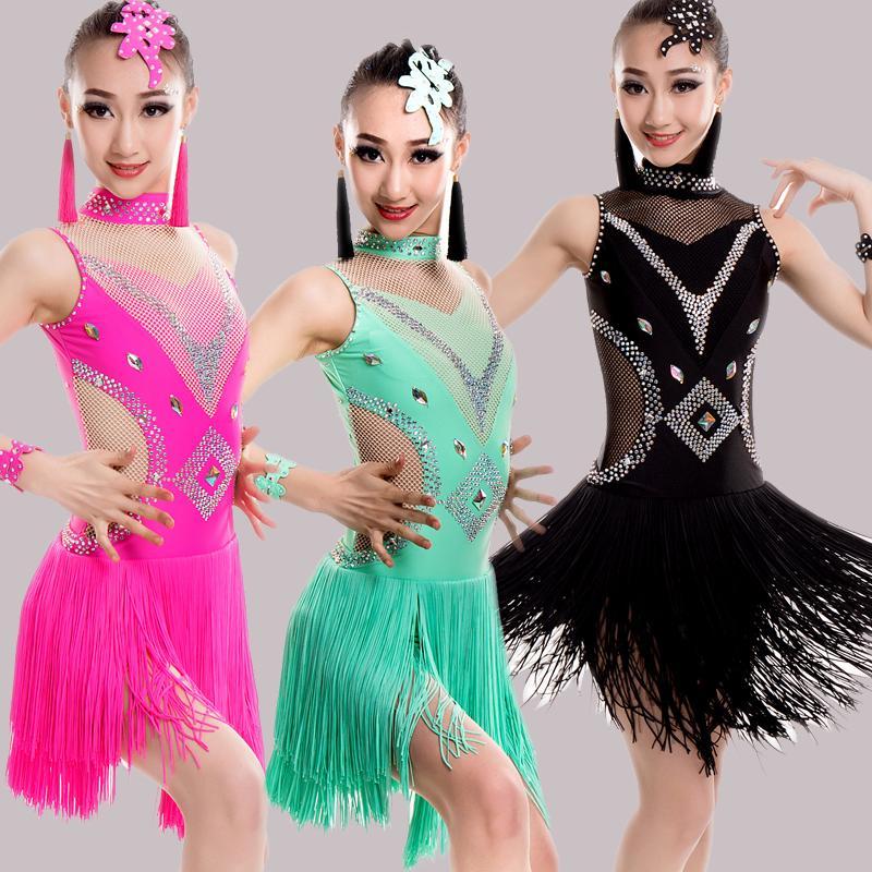 58fd92b82511 2019 2018 New Latin Tassel Dance Skirt For Children New Arrival Sexy Rumba  Sumba Competition Dancing Wear Girls Latin Dance Dress From Manxinxin, ...