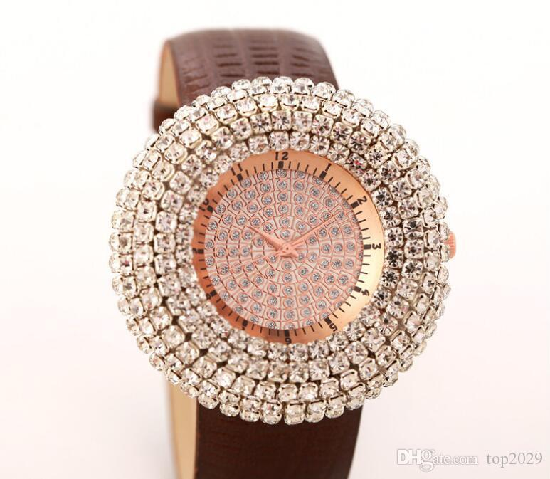Women Luxury super Full coverage Diamond Watch Women Fashion Table Fountain Decorative Classic noble gift Leather strap crystal Gold watch