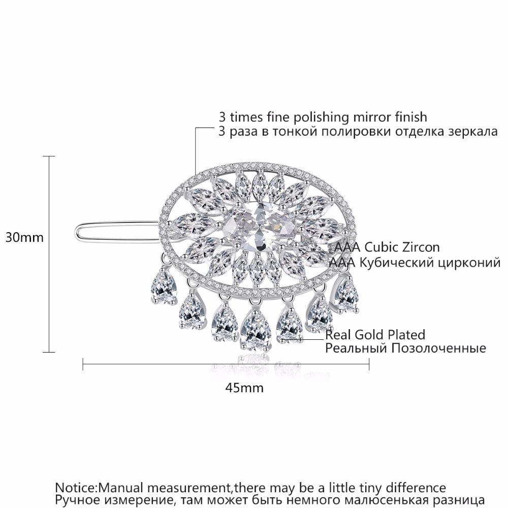 LUOTEEMI Nova Chegada Modelagem Acessório Para o Cabelo Moda Limpar Cubic Zirconia Gota Grampo de Cabelo Para O Casamento De Noiva Pinos de Cabelo Jóias