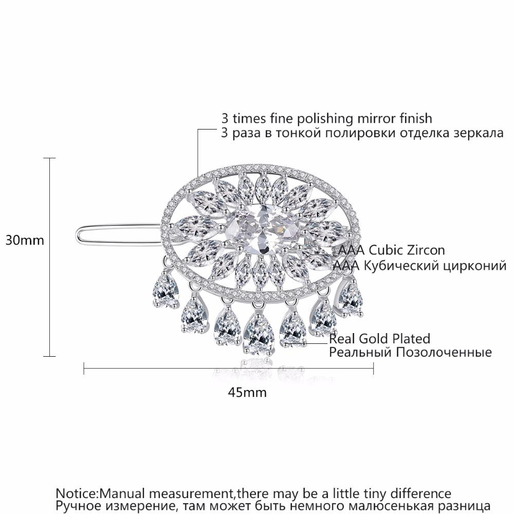 LUOTEEMI Nuovo Arrivo Modellazione Accessorio Capelli Moda Chiaro Cubic Zirconia Goccia Clip di Capelli Gioielli Da Sposa Perni Capelli