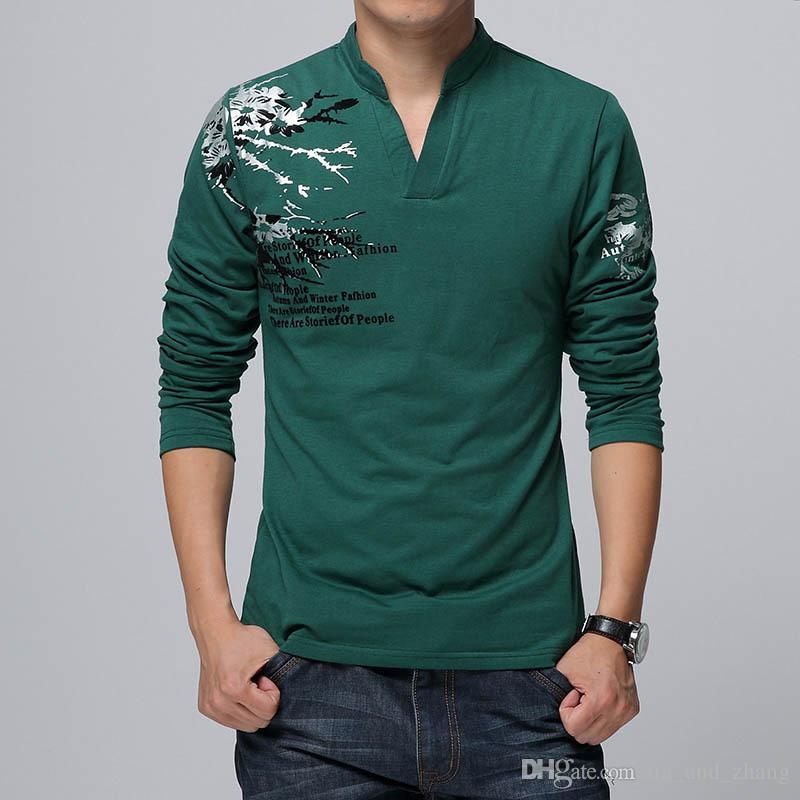 5409ce23b656ec Großhandel 2018 Neue Mode Heißer Trend Print Slim Fit Langarm T Shirt  Männer T Stück V Ausschnitt Casual Männer T Shirt Baumwolle T Shirts Plus  Größe 5XL ...
