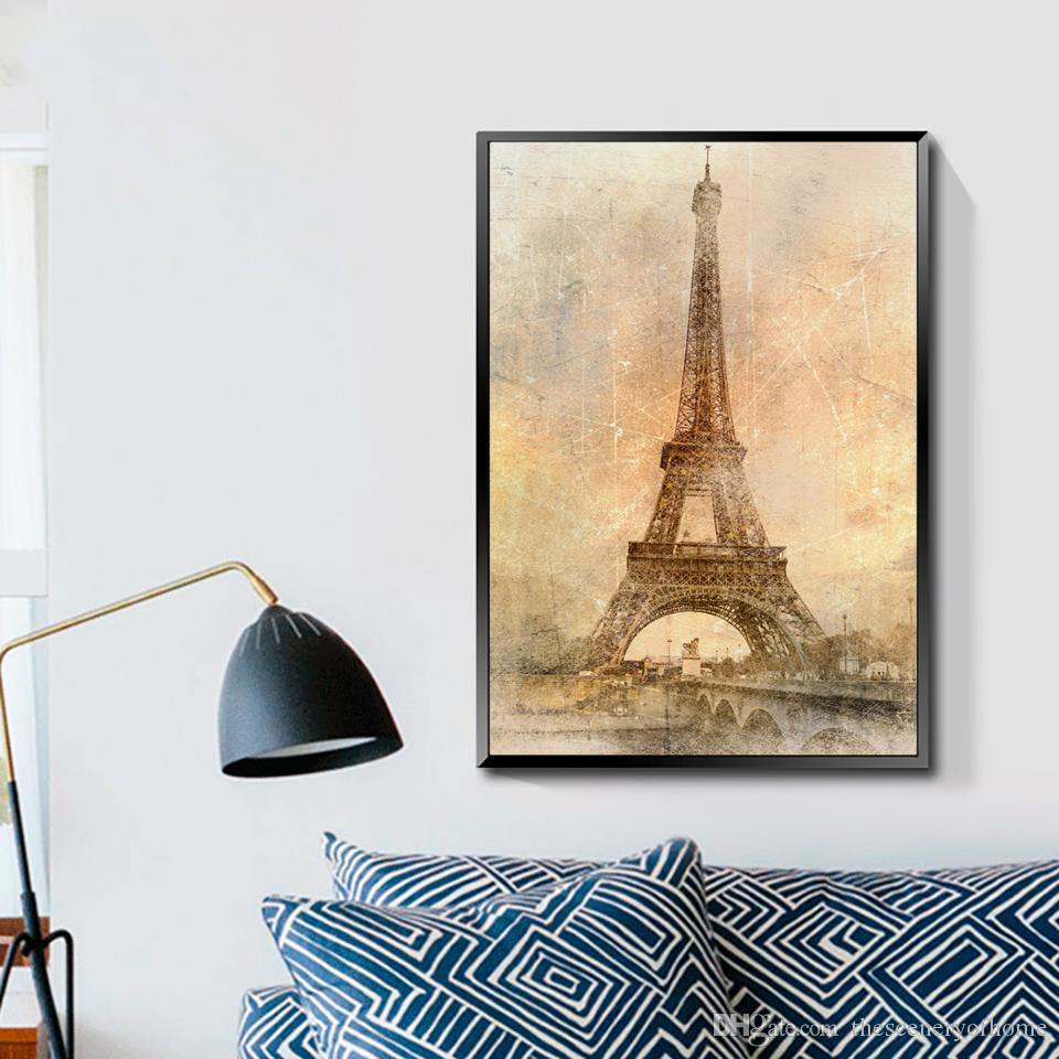 Eiffel Tower Wall Poster Wall Decoration Picture Living Room Bedroom Wall  Stickers Unframed Decorative Painting Canvas Wall Art Painting Online With  ...