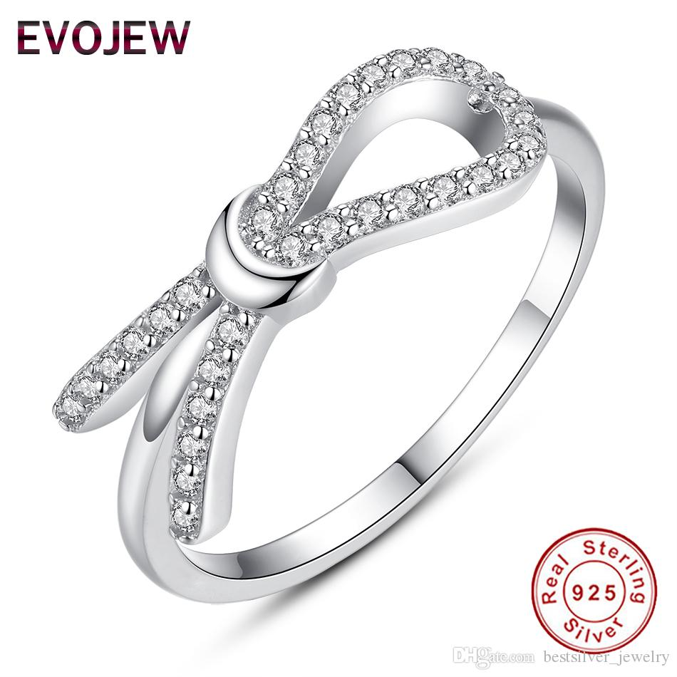 2018 Evojew 925 Sterling Silver Infinity Ring Eternity Bow Rings