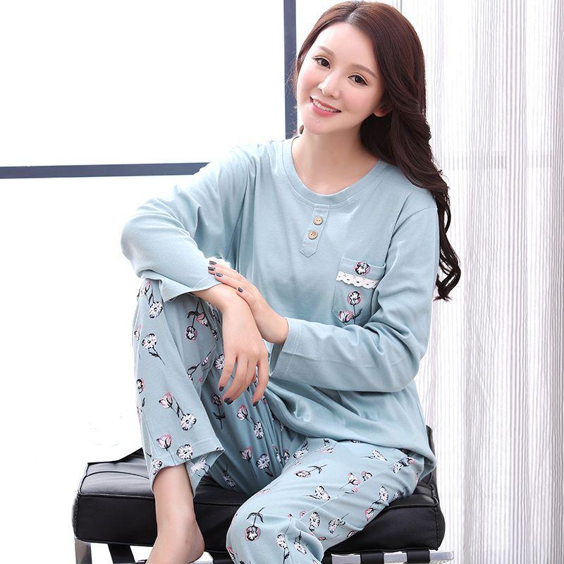 e4cf77699c969 Casual Tracksuit Flower Printed Sleepwear O Neck Shirts + Pants Homewear  Pajamas Set For Women Plus Size M 3XL Pijamas Mujer UK 2019 From  Baiyulanflo