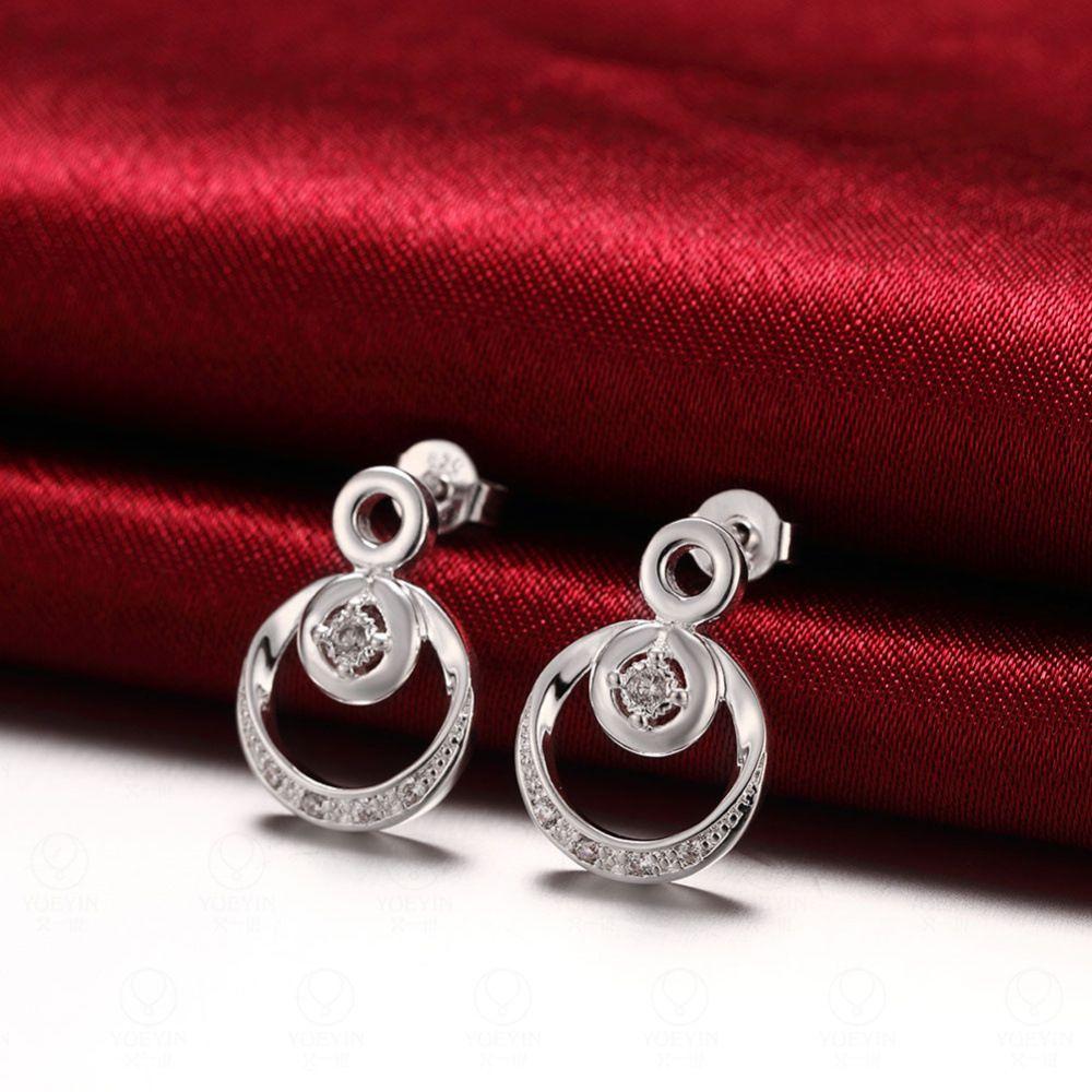 Стерлингового серебра 925 покрытием женщин Серьги, Серебро новая мода ювелирные изделия, Европа щедрый круглый Кристалл Камень дамы серьги