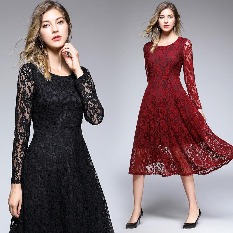 d7974aad9d Women Party Evening Ball Gowns Casual Lace Dresses Long Sleeve Hollow Out  Autumn Knee Length Long Dresses UK 2019 From Sinofashion, UK $$35.78 |  DHgate UK