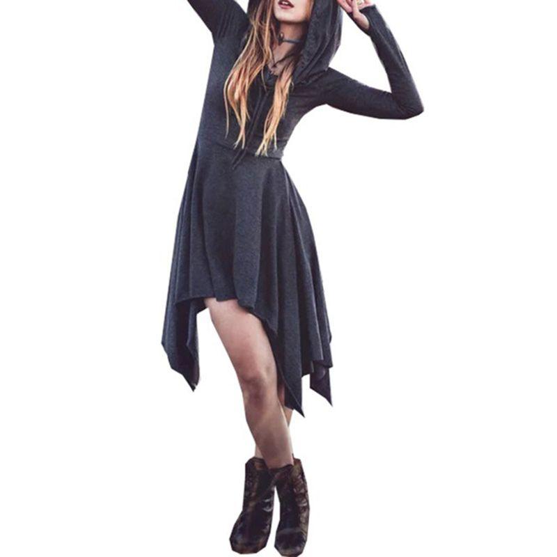 7962118c7c9 Gothic Hooded Dress Sweatshirt Long Sleeve Irregular Solid Tunic Dresses  High Waist Slim Party Dress Vestido SJ773Y Long Black Dress For Sale  Sundress For ...