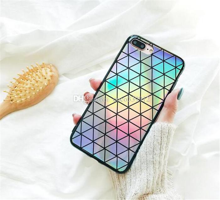 Custodia in silicone lucido arcobaleno scintillante Bling in feltro morbido TPU iPhone X 8 7 6 6S Plus