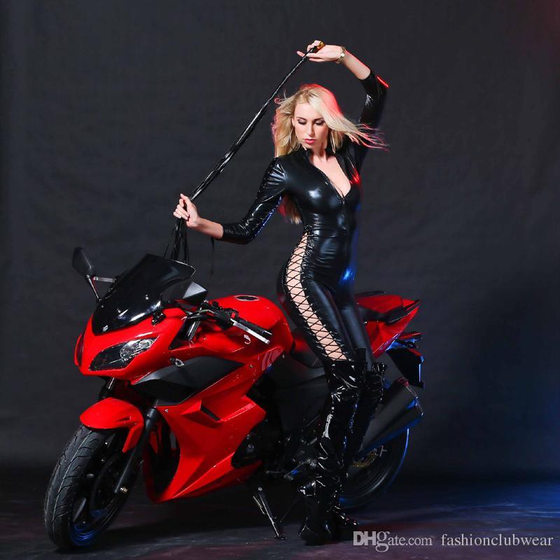 Femmes Sexy Race Car Driver Costume Noir Faux Cuir Manches Longues Body Coupe Basse Combinaison Jumpsuit Sexy Jeu Club Wear