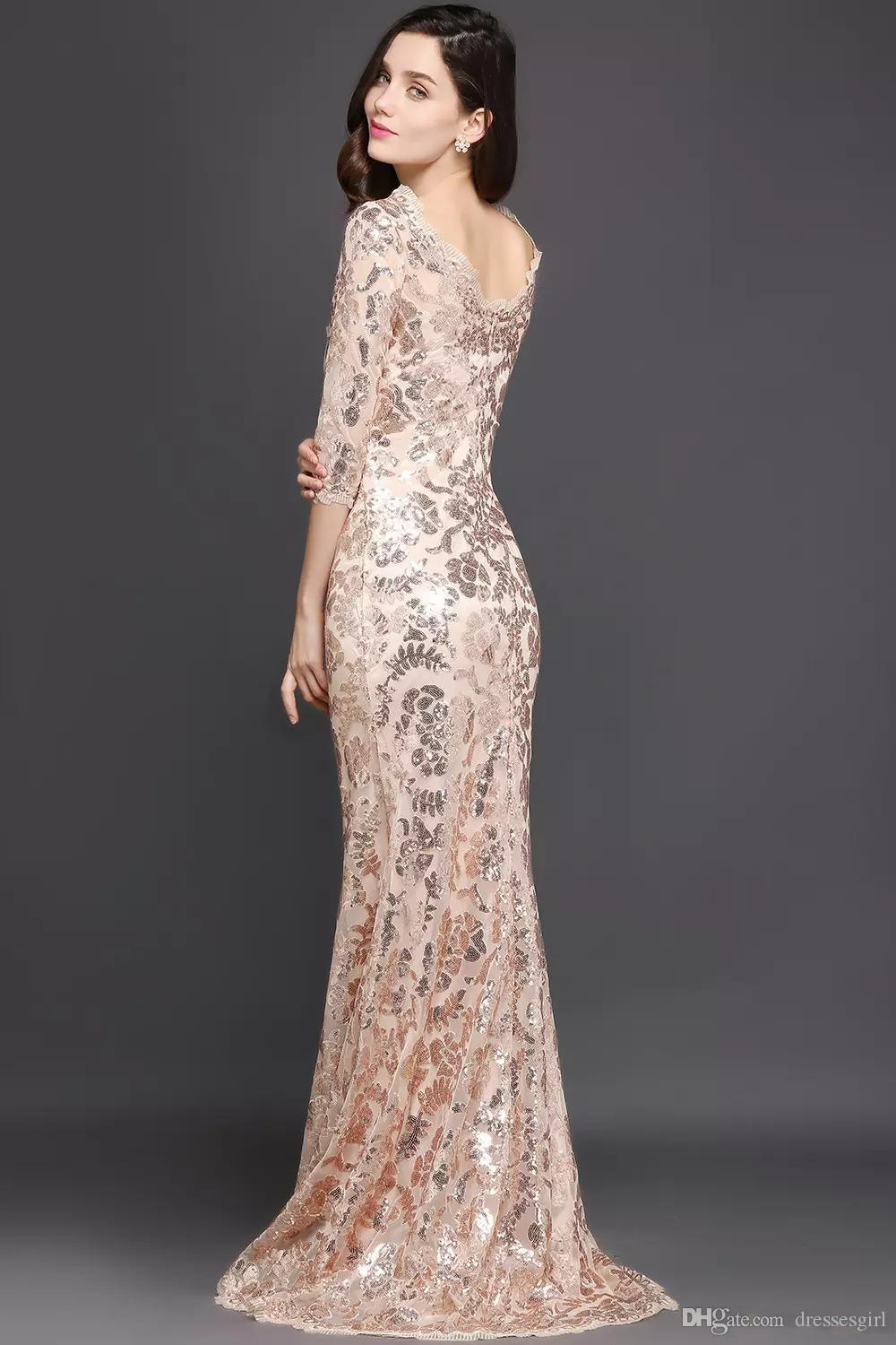 Real Picture Long Sleeve Rose Gold Mermaid Mother of the Bride Dresses Jewel Neck Lace Sequined Sweep Train Formal Evening Party Wear CPS634