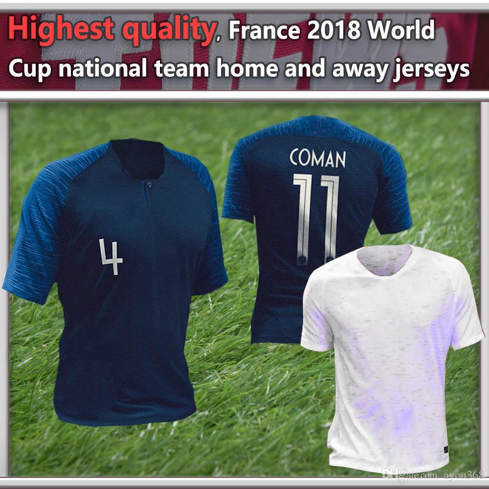 2019 Highest Quality French National Team 2018 World Cup Home And Away  Jersey Men S Women Player Fans Version Mbappé Dembelé Pogba Soccer Jersey  From ... f63d9960c