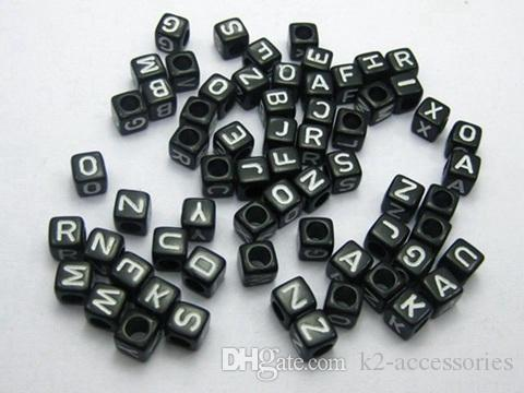 White in Black Acrylic Assorted Alphabet Letter Cube Pony spacer Beads for jewelry 7X7mm