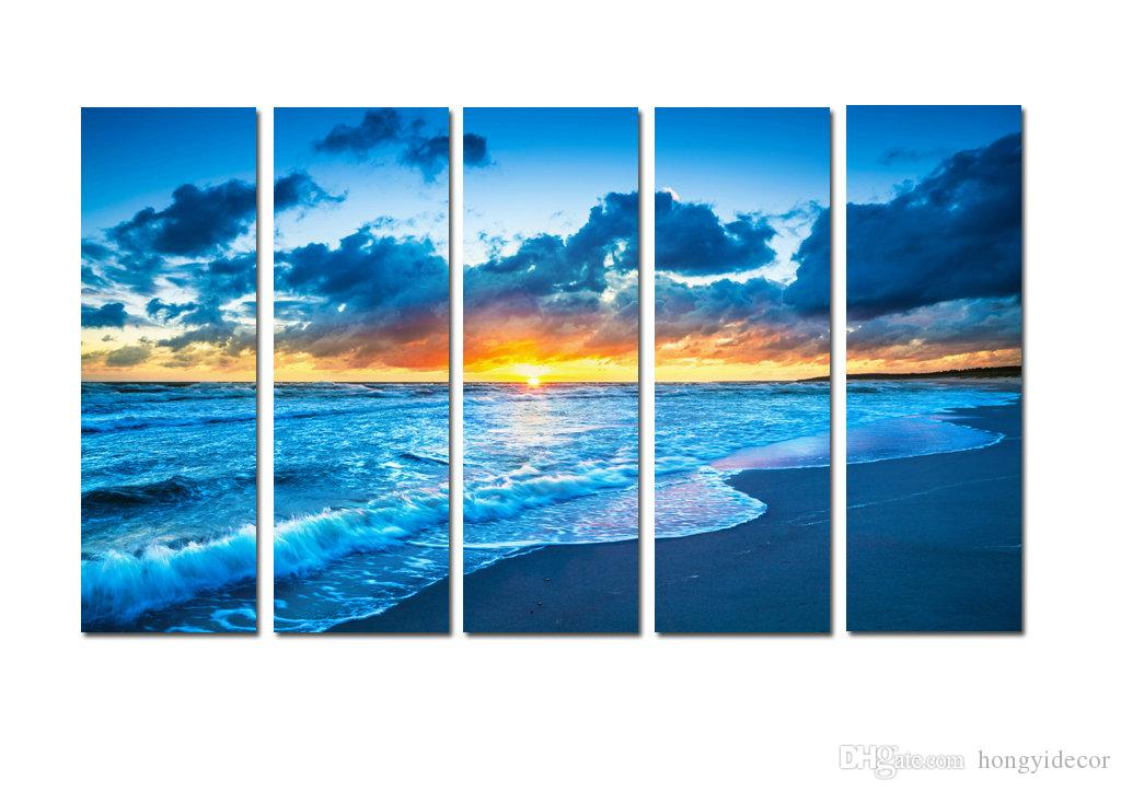 Large Hot Modern Contemporary Canvas Wall Art Print Painting Beach Sunset Seascape Landscape 5 Pieces picture Living Room Decor Aset140