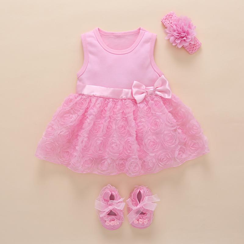 17174e004e Compre Bebê Menina 1 Ano De Aniversário Vestido De Festa Cor De Rosa Bow Nó  Boutique Linda Princesa Infantil Vestido De Renda Bonito Flor Vestidos De  Bebê ...