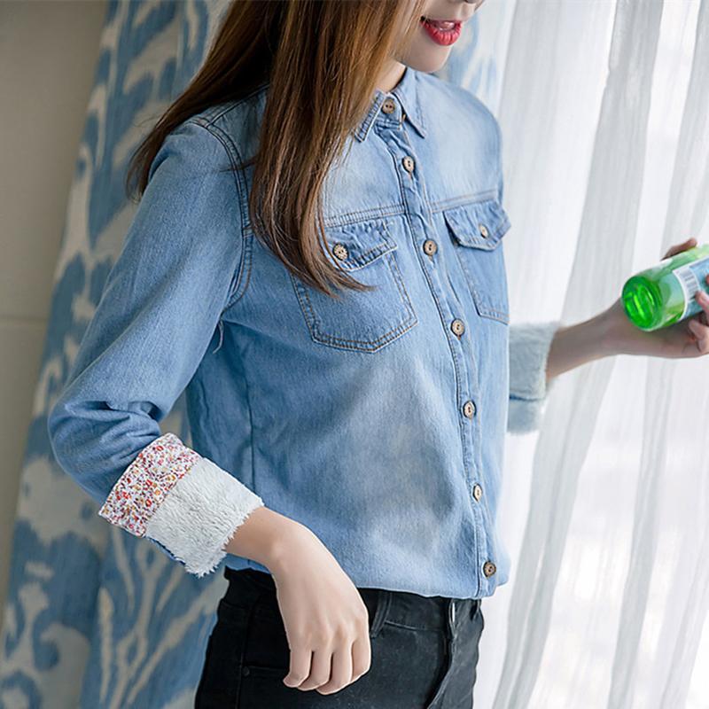 Atacado e Varejo Meninas Denim Camisas Inverno Quente Velo Engrossar Tops Moda Todos os Jogo Vaqueira Casacos Térmica Blusa SY1464