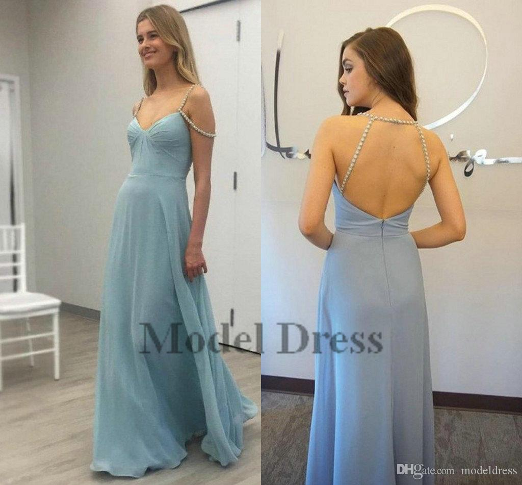 Sexy Backless Prom Dresses Light Blue Chiffon A Line Floor Length Beading Spaghetti Straps Cheap Party Dresses for Graduation 2018 New Sale