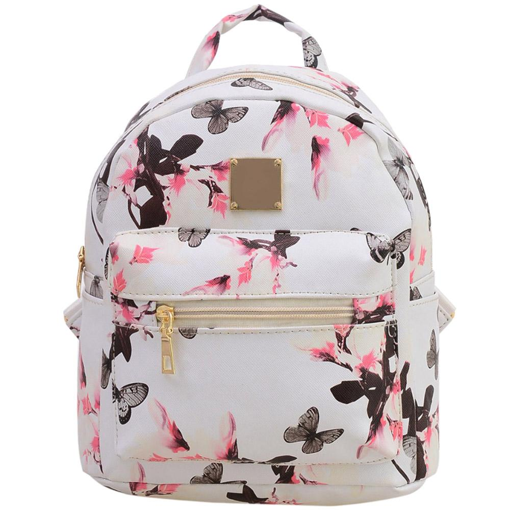 da2532eb8016 TEXU schoolbag for teenagers girls butterfly Cute PU leather backpack  Canvas flowers Printing women Backpacks