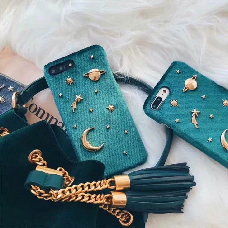 for iphone x fashion velvet golden rivet saturn moon stars space hard cover for girls case for. Black Bedroom Furniture Sets. Home Design Ideas