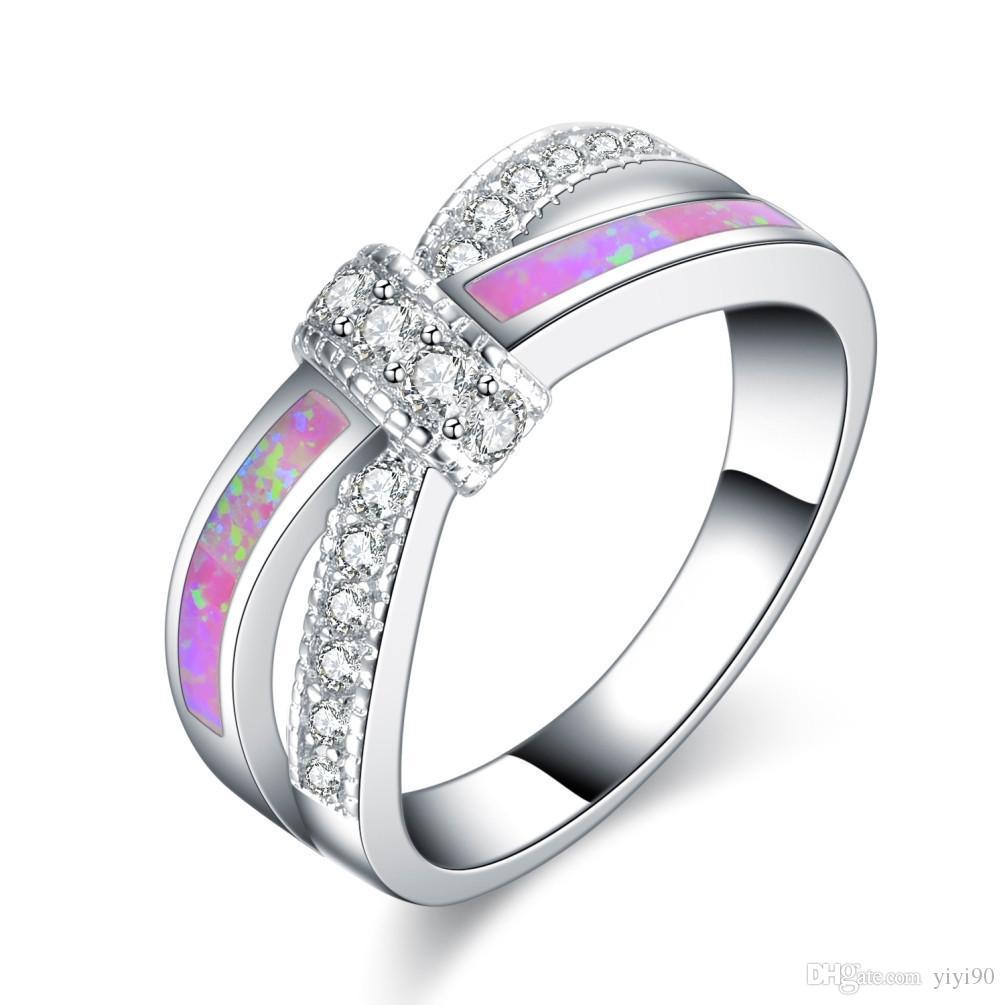 Moda croce bianca rotonda taglio cristallo arcobaleno opale anelli oro bianco riempito donna regalo cocktail regalo gioielli da uomo