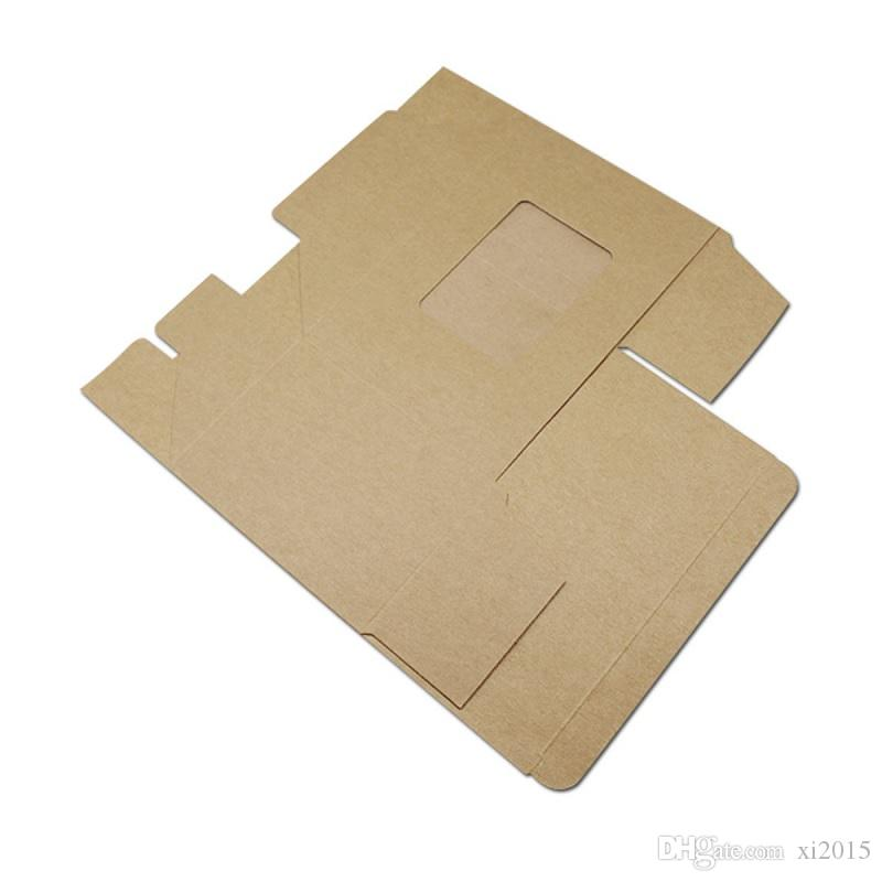 Kraft Paper Gift Boxes with Clear Window Candy Packaging Folding Carton Wedding Party wen6593