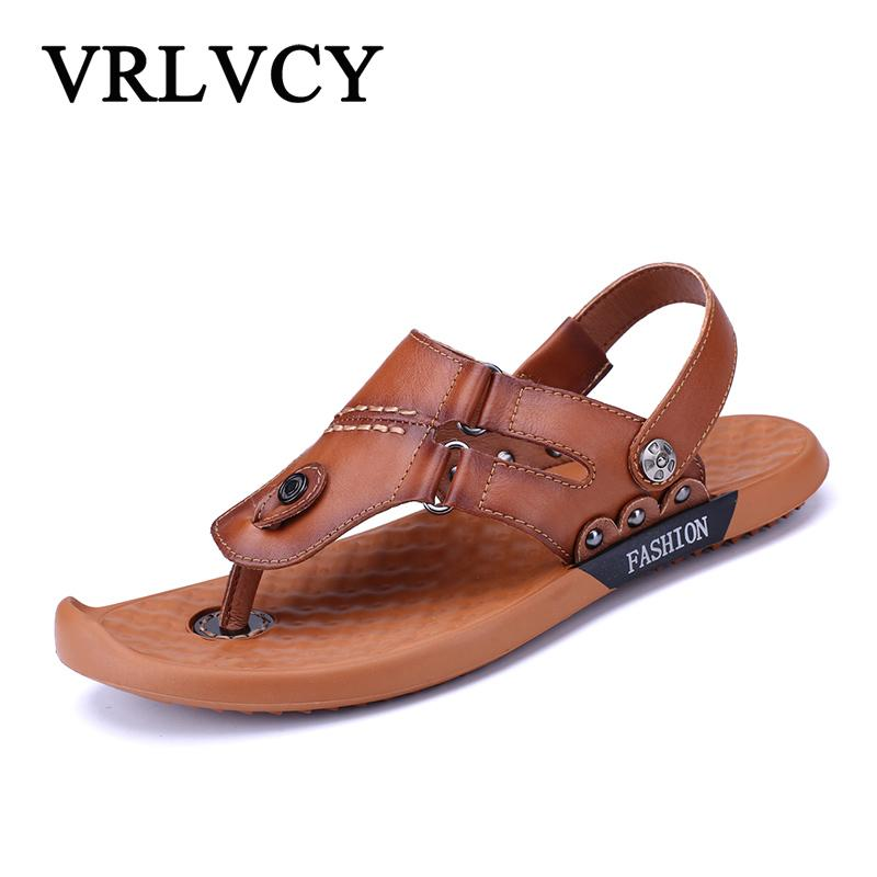 3b291e631c73e Summer new style leather sandals men s toe sandals and slippers men s flat  shoes skate shoes two ways to wear sand