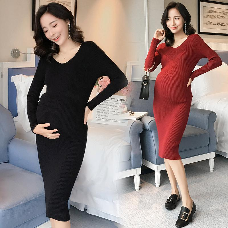 ea317e76e44c8 2019 V Neck Sim Knitted Maternity Long Dress Autumn Winter Korean Fashion  Clothes For Pregnant Women Pregnancy Sweater Clothing From Mingway245, ...