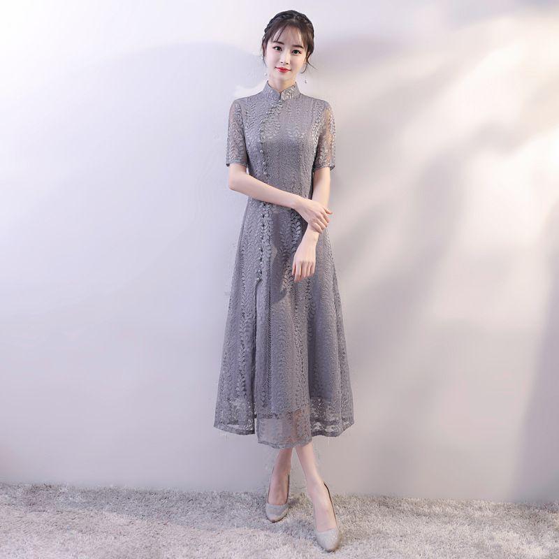 30160e950 2019 Gray 2018 New Vietnam Aodai Slim A Line Qipao Elegant Women Lace Sexy  Chinese Dress Vintage Mandarin Collar Long Cheongsam From Carawayo, ...
