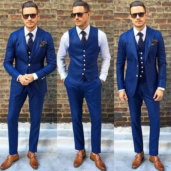 Nuevo diseño con muescas Laper Azul Boda Trajes de hombre Novios Tuxedos Hombres Fiesta Trajes padrinos de boda chaqueta + pantalón + corbata + chaleco NO; 171