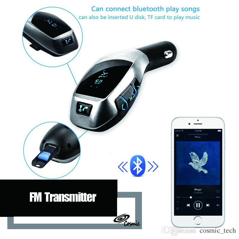 X5 Bluetooth Handsfree FM Transmitter Car Kit MP3 Music Player Radio  Adapter Work with TF Card U Disk For iPhone Smartphone