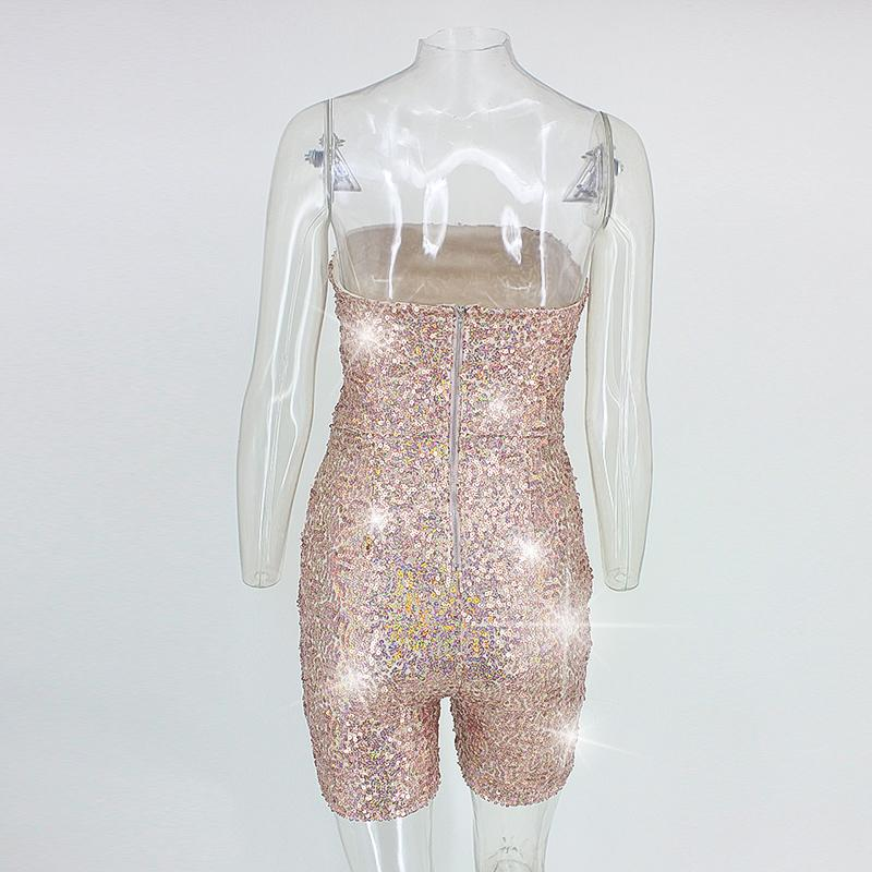 Kylie Jenner's 21st Birthday Party Jumpsuit Rompers Laser Sequin Bodysuit Strapless Tube Top Sexy Glitter Clubwear Palysuit