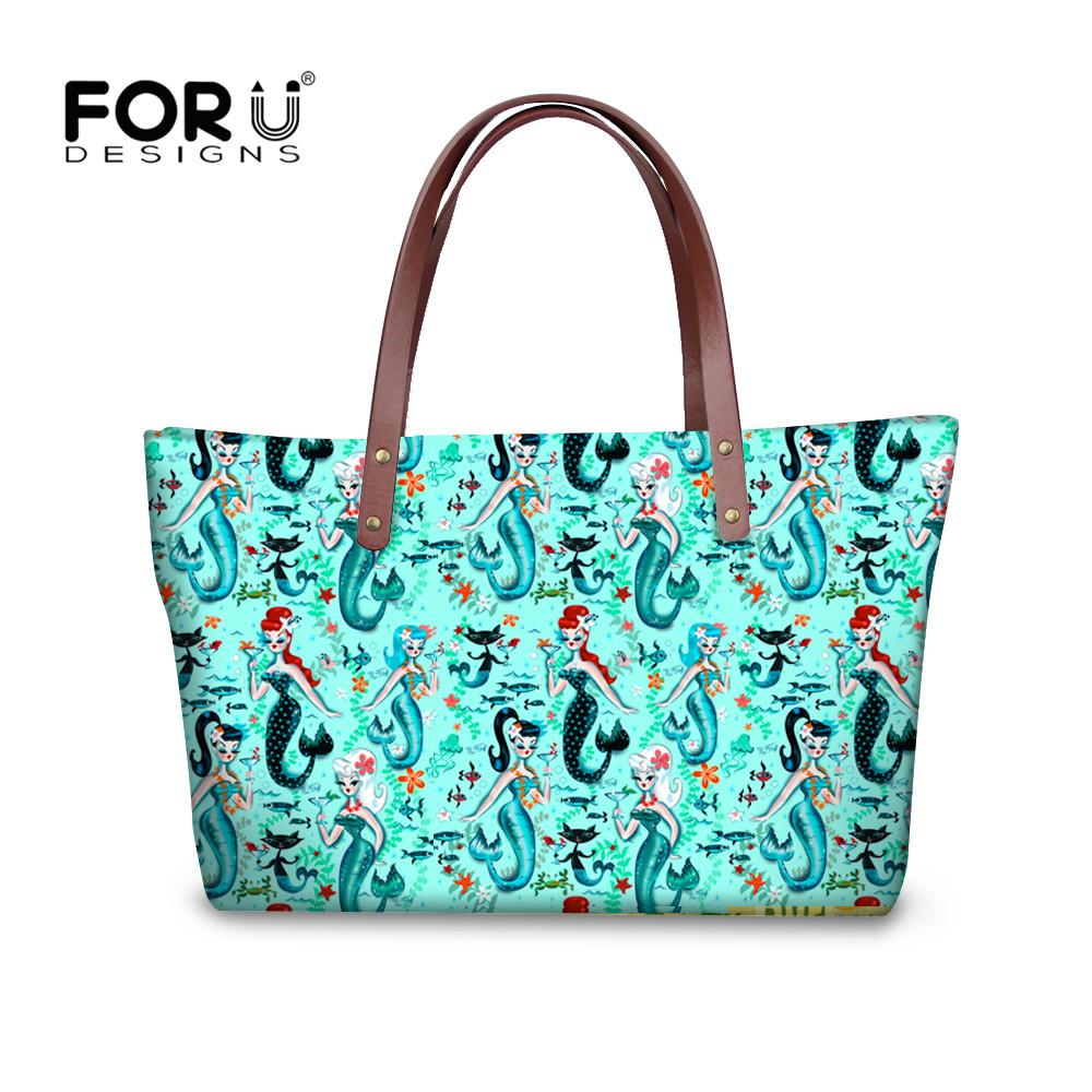 893ff4c3c79d FORUDESIGNS Mysterious Mermaid Women Handbags Luxury Brands Tote Bag Ladies  Shoulder Bags + Card Holder Purse Clutch Feminina Designer Handbags On Sale  ...