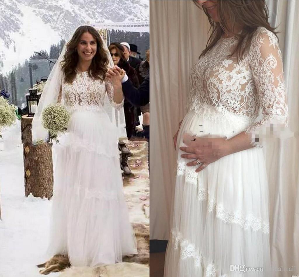 281b487150 Gorgeous Pregnant Women Maternity Wedding Dresses 2018 Summer Lace Long  Sleeves Bridal Gowns Custom Made Plus Size A Line Wedding Dress