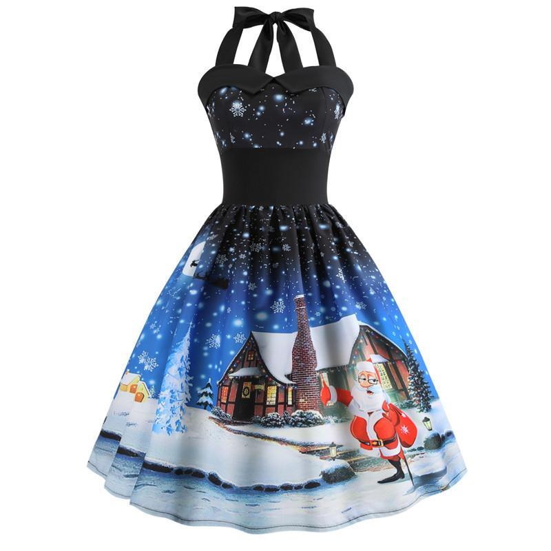 Großhandel Vintage Pinup Weihnachten Kleid 2018 Santa Schneemann ...