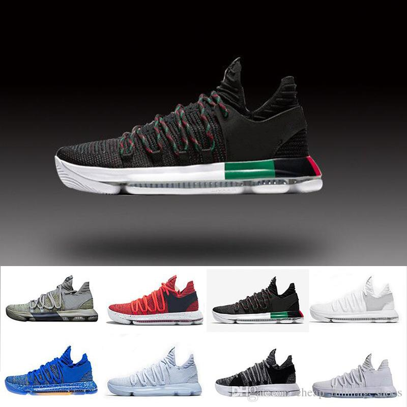 sports shoes 9bd0a 30935 2018 Zoom KD 10 Anniversary PE BHM Red Oreo Triple Black Men Basketball  Shoes KD 10 Elite Low Kevin Durant Athletic Sport Sneakers Boys Basketball  Shoes Cp3 ...