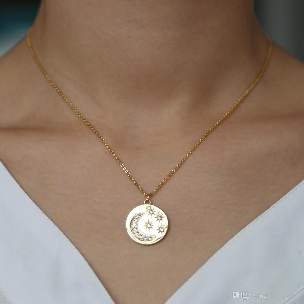 13c6869bfa561 NEW vintage coin pendent necklaces charm cresent moon hexgram stars fulfill  shiny cz necklaces delicate thin chain women jewelry