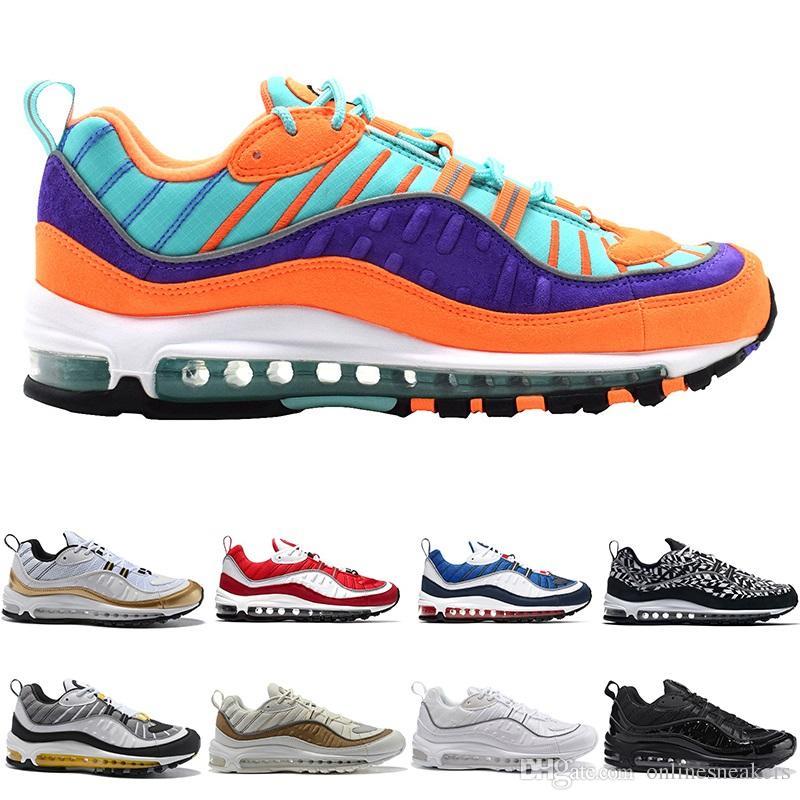 e38325474a4 Nike Air Max 98 Airmax 98 Zapatillas De Running Para Hombre 98s AOP Cone  Gundam Triple Negro Blanco Tour Yellow Racer Blue Barato Hombres Diseñador  De ...