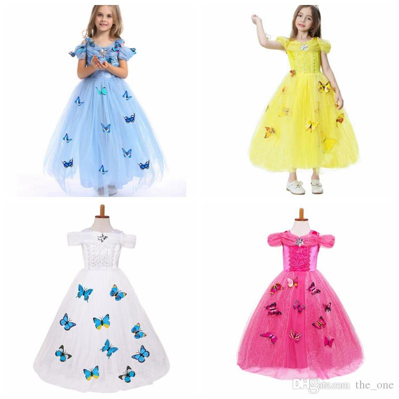 ac61fac7d 2019 Snowflake Diamond Butterfly Dress Fancy Costumes For Kids Blue ...