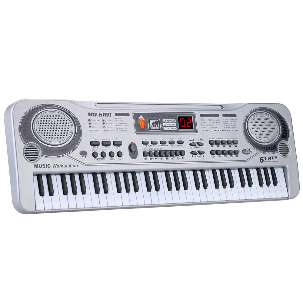 61 Keys Electronic Keyboard Piano LED Music Toy with Microphone 21  Educational Electone Christmas Gift for Children EU Plug