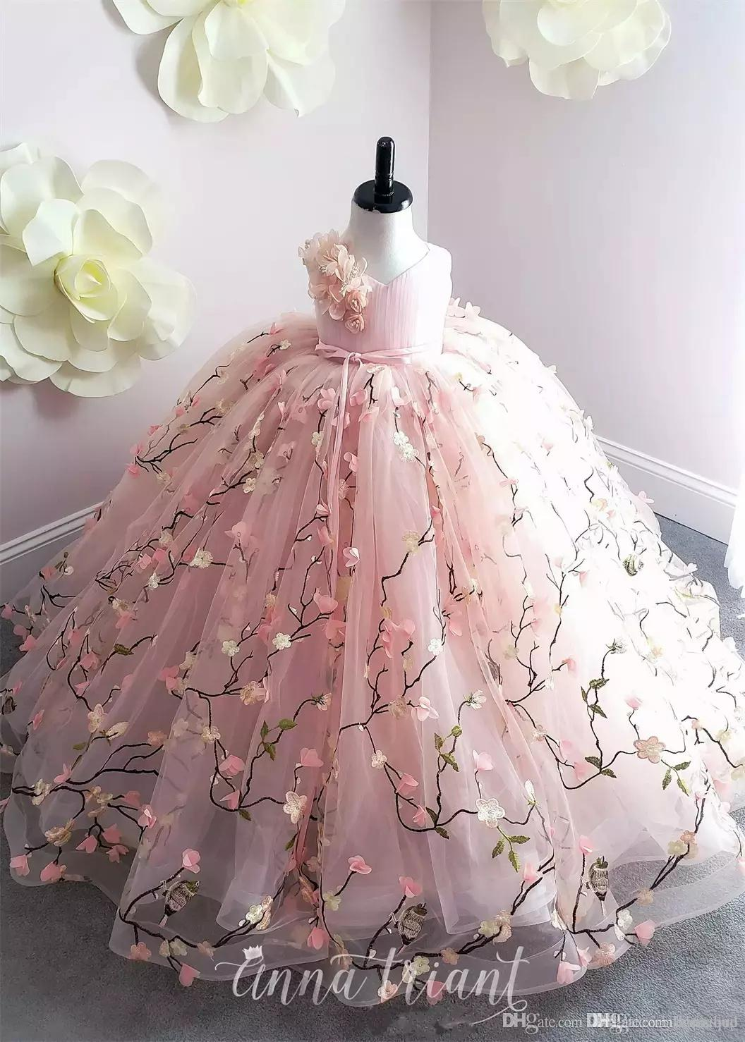 fb7f2d8dab9c0 Princess Pink Flower Girl Dresses 2019 Lace 3D Floral Appliques Ball Gown  Little Girl Birthday Party Gowns Sweep Train Kids Formal Wear