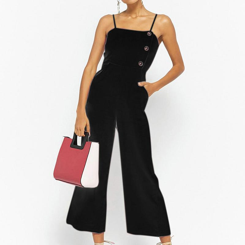 285250d7f551 2019 BBYES Casual Sleeveless Jumpsuit Fashion Women Holiday Backless Solid  Sling Jumpsuit Striped Beach Long Playsuit Wide Leg Pants From Sadlyric