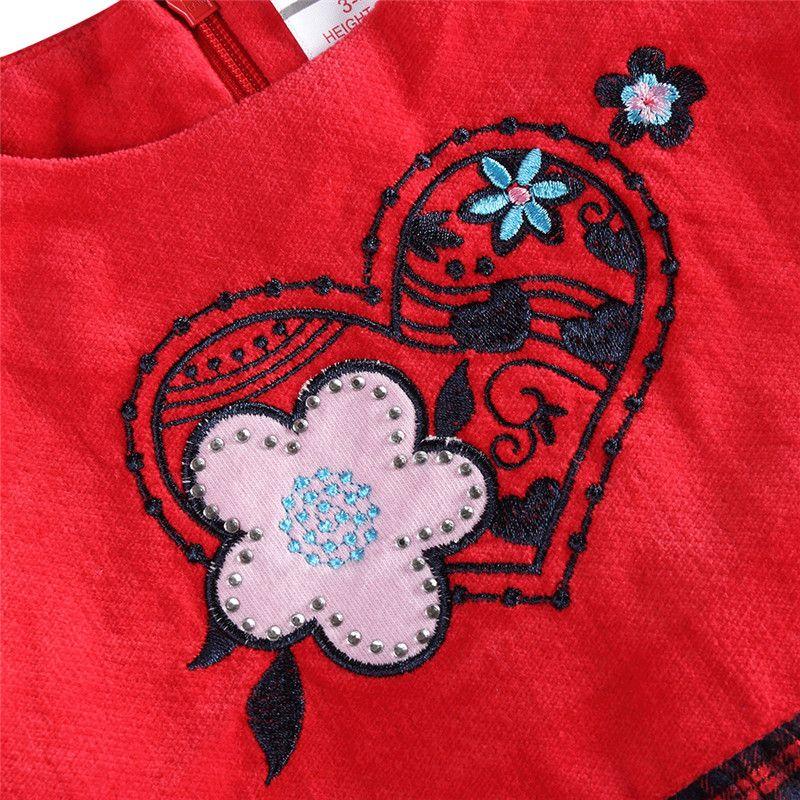 novatx H6062 2017 nuovo disegno di vendita calda di lana top velluto a coste griglia bambina vestito con fiori primavera bambini abiti senza maniche
