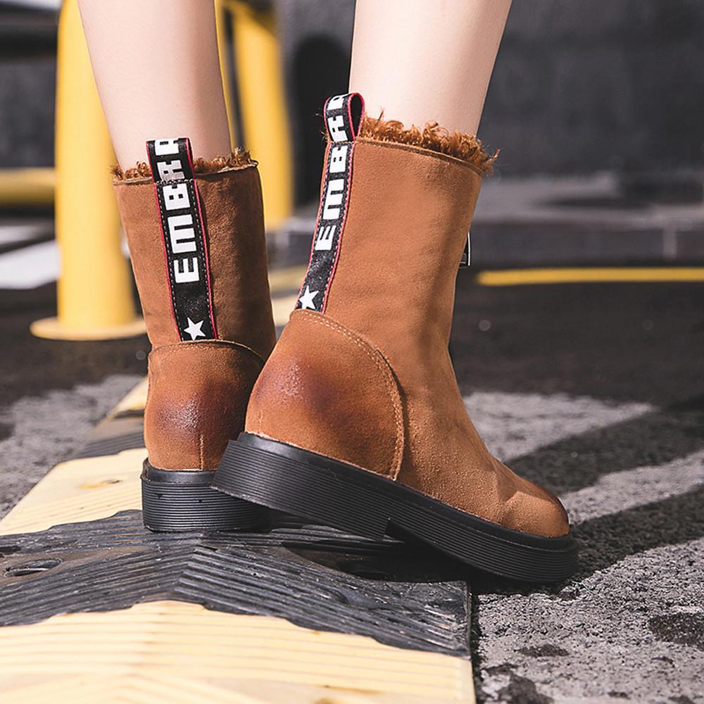 bf301846 Compre Zapatos De Invierno Para Mujer Con Cremallera Mantener Cálidas Botas  De Algodón Planas Damas De Diseñador Vintage De Alta Calidad Estilo Bonito  ...
