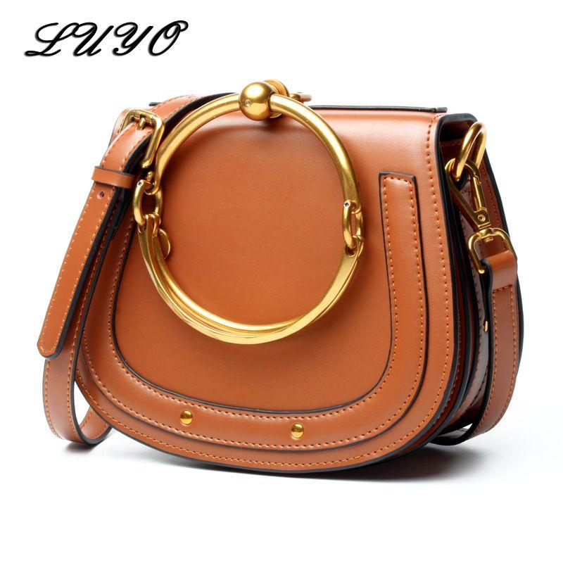 LUYO Vintage Ring Genuine Leather Shoulder Bag Female Luxury Handbags Women  Messenger Bags Designer For Woman Small Cloe Summer Designer Bags Ladies ... 875b2516fa6d0
