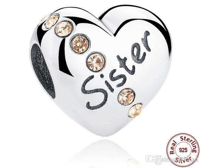 925 Sterling Silver Heart Diamond Mother/Daughter/Sister Printed Loose Beads Charms for DIY Bracelets Pendants Jewelry Accessory As Gifts