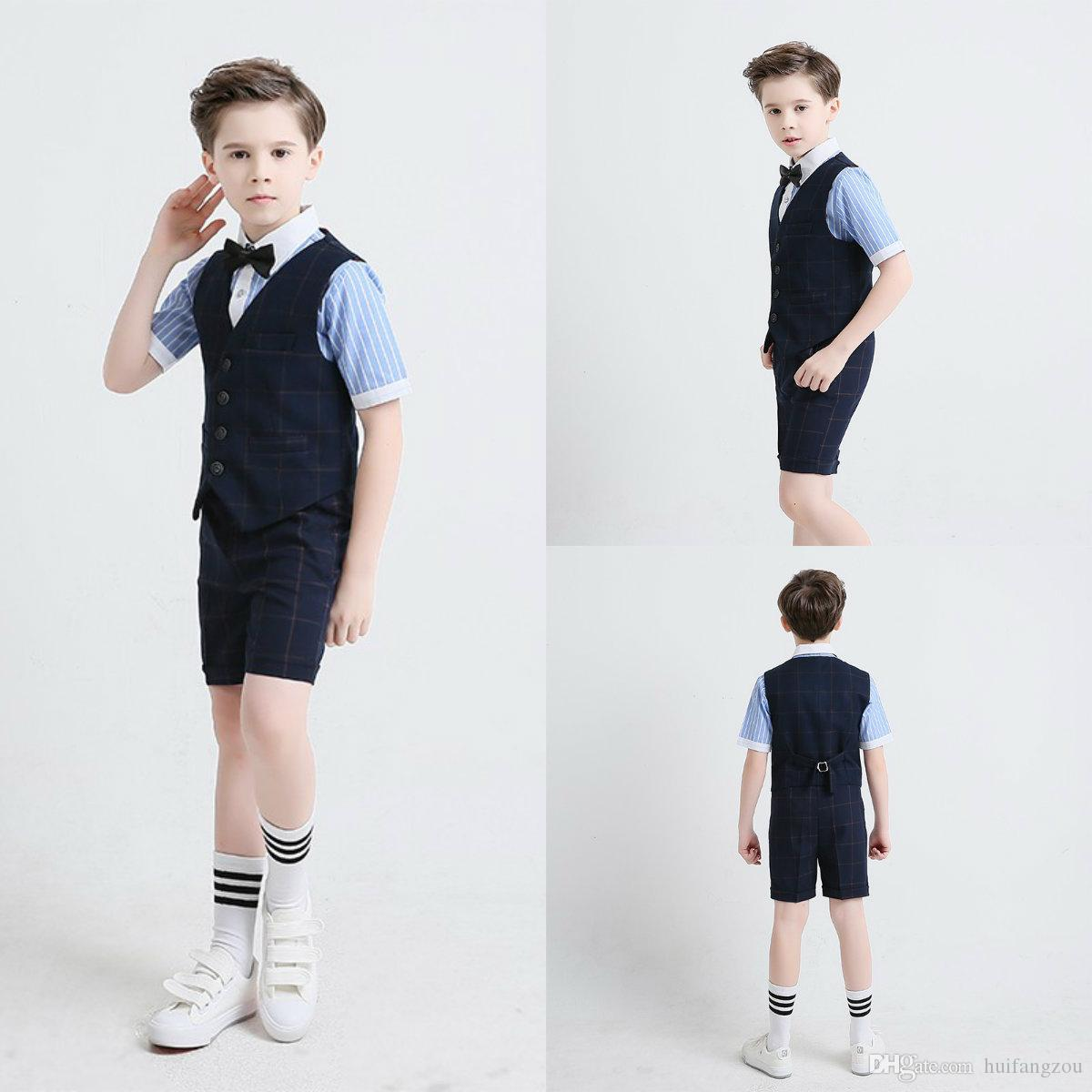 036309ff574 2018 Summer Three Pieces Boys Clothes Handsome Short Sleeve Striped Shirt  With Grid Knee Length Pants And Vest Boys Formal Suits Boys Formal Suits  Cheap ...