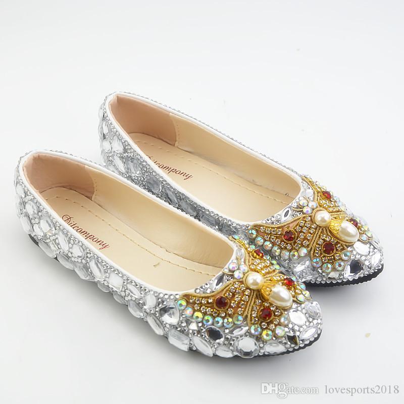 Neue handgefertigte Silber Kristall Bling Bling Braut schwangere Frauen Wohnungen runde Zehe flache Strass Perle Bowtie Hochzeit Schuhe plus Größe