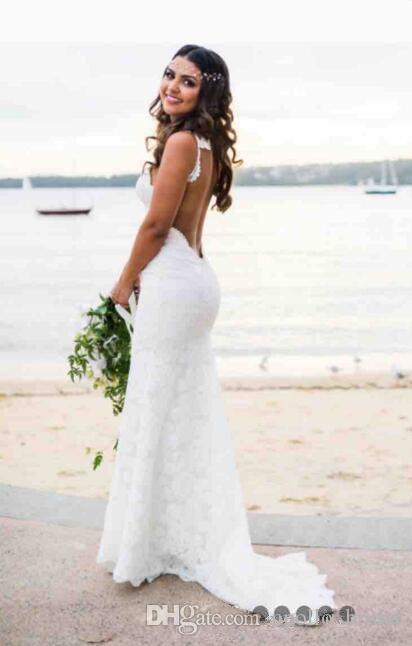 2020 casamento de praia do vintage Vestidos Sereia Spaghetti Varrer Train vestidos de noiva With Full Lace Backless Vestidos de casamento