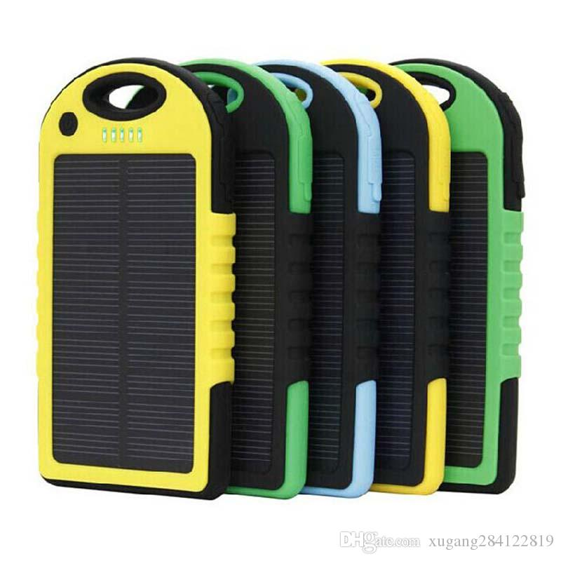 Useful Free Ship 5000mah Portable Waterproof Solar Charger Dual Usb External Battery Power Bank For Cell Phone Accessories Usb Cable Battery Charger Cases