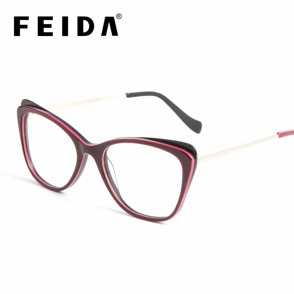 5ba0f60419 FEIDA Women Optical Acetate Glasses Frame Cat Eye Eyeglasses Frame ...