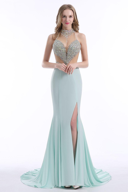 Mint Green 2018 Crystals Halter Neck Evening Dresses Rhinestones ...